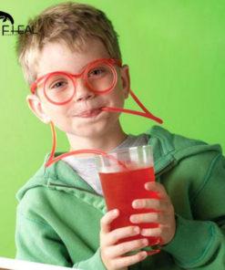 Canudo Divertido para Bebidas em Forma de Óculos