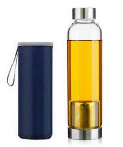 Garrafa de Vidro com Infusor de Chá e Bolsa Protetora (550 ml)