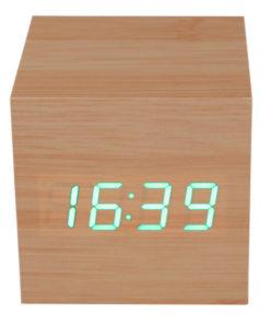 Relógio Despertador Cubo Decorativo em Madeira